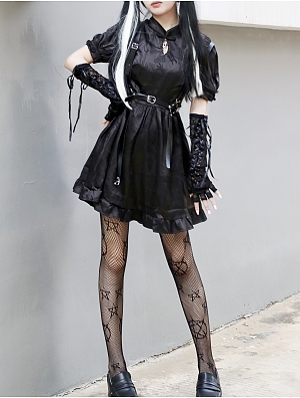 Gothic Punk Stand Collar Short Lantern Sleeves Dress / Waist Belt Full Set by Miub Design Studio