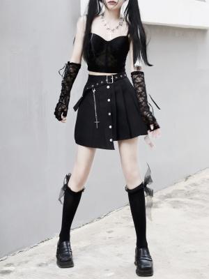 Punk Irregular Chain Decorative Pleated Skirt by Miub Design Studio