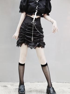 Punk Lace Trimmed Cross Chain Decorative Mini Skirt by Miub Design Studio