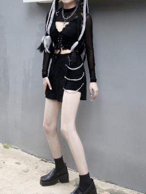 Punk High Waist Chain Decorative Irregular Skirt by Miub Design Studio
