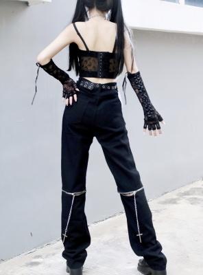 Punk High Waist Chain Decorative Cargo Pants by Miub Design Studio