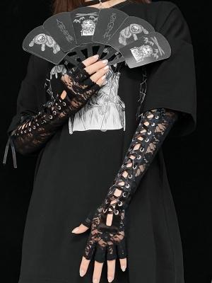 Punk Lolita Cross String Lace Long Gloves by Miub Design Studio