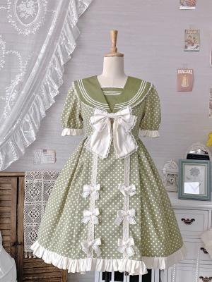 Leave Spring Navy Collar Short Puff Sleeves Sweet Lolita Dress KC / OP Set by Miss JianZhi