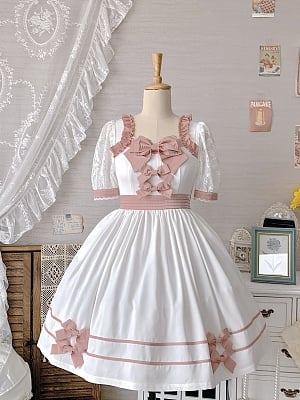 Live up to the Holiday Square Neckline Short Puff Sleeves Lolita Dress JSK / Hairband Set by Miss JianZhi