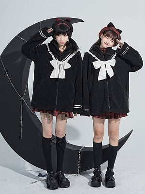 Black Winter Warm Coat with White Ruffles and Big Bowknot Decoration by Moon Faust