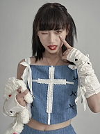 Y2K Square Neckline Cross Lace Trimmed Denim Cami Top by Moon Faust