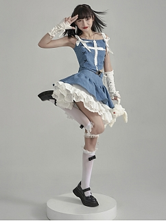 Y2K High Waist Puffy Tiered Denim Skirt by Moon Faust