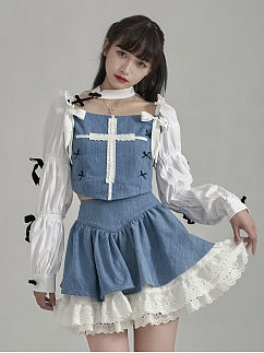 Bowknot Decorative Virago Sleeves Cropped Outwear by Moon Faust