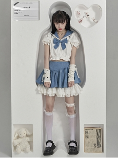JK Navy Collar Short Puff Sleeves Cropped Top by Moon Faust