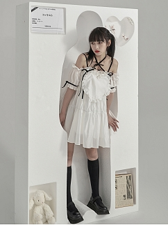 Romantic Girl Off-the-shoulder Neckline Removable Short Puff Sleeves Self-tie Dress by Moon Faust