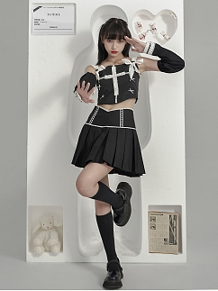 Black Square Neckline Cross Lace Trimmed Denim Cami Top by Moon Faust