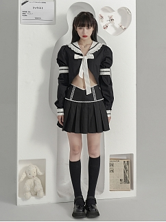 Black High Waist Lace Trimmed Pleated Skirt by Moon Faust