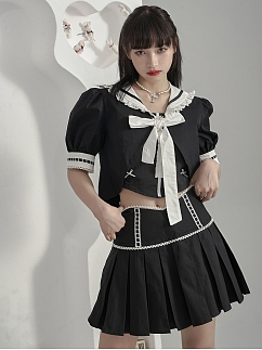 Black Navy Collar Removable Sleeves Self-tie Cropped Top by Moon Faust