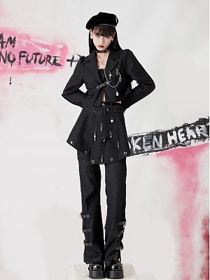 Punk Lapel Collar Long Sleeves Cropped Jacket with Choker