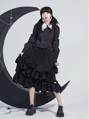 Peter Pan Collar Puff Sleeves Lace-up Front Top