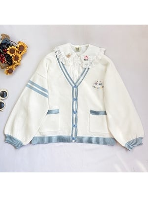 Cute Bunny V-neck Long Sleeves Embroidered Short Cardigan