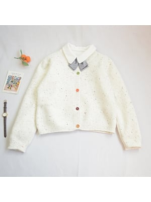 Round Neckline Long Sleeves Knitted Cardigan