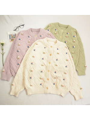 Small Fresh Beanie Round Neckline Long Sleeves Short Knitted Cardigan