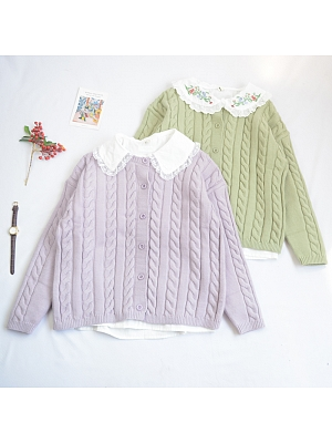 Plain Color Round Neckline Long Sleeves Knitted Cardigan