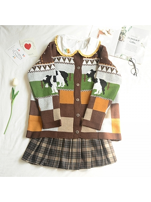 Childlike Cows Round Neckline Long Sleeves Knitted Cardigan