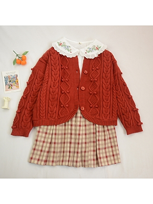 Round Neckline Long Sleeves Short Knitted Cardigan