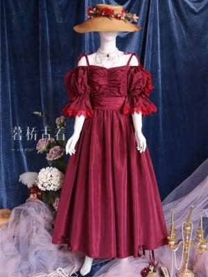 Anna Karenina Vintage Victoria Off-the-shoulder Neckline Puff Sleeves Self-tie Long Dress by Mu Qiao's Vintage