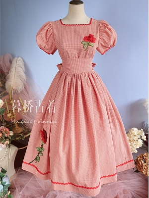 Vintage Square Neckline Short Puff Sleevs Rose Embroidered Long Dress by Mu Qiao's Vintage