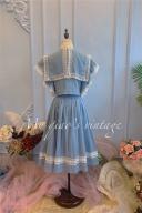 Blue June Poem Vintage Stand Collar Ruffled Sleeves Top / Midi Skirt Full Set by Mu Qiao's Vintage