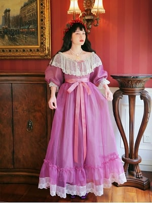 Wuthering Heights Vintage Purple Organza Lace Ruffled Off-the-shoulder Neckline Long Dress by Mu Qiao's Vintage
