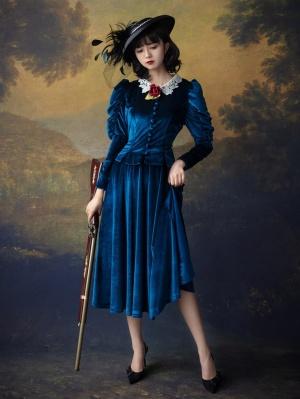 William Castle Vintage Peter Pan Collar Puff Sleeves Velvet Long Dress