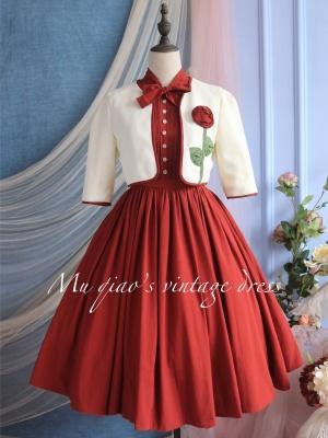 Beloved Vintage Stand Collar Sleeveless Dress / Short Jacket Set