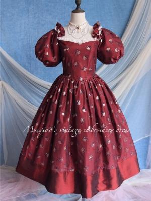 Masquerade Vintage Off-the-shoulder Neckline Short Puff Sleeves Jacquard Embroidered Dress