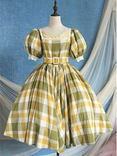 Stroll in Tuscany Vintage Square Neckline Short Puff Sleeves Plaid Dress
