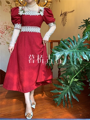 Flower and Alice Vintage Square Neckline Short Puff Sleeves Corduroy Long Dress and Mesh Blouse Set