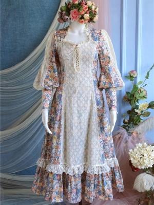 Flower God Vintage Square Neckline Long Sleeves Lace Print Dress
