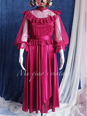 The beautiful legend of Sicily Vintage Stand Collar Long Sleeves Lace Shirt / Cami Dress Set