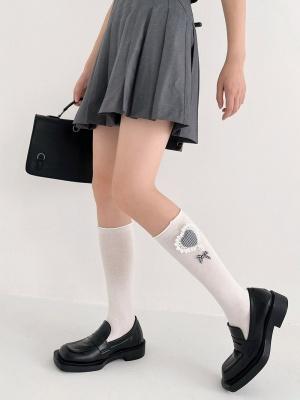 Plaid Heart Shaped Decoration on Ankle Underknee Elegant Cotton Lolita Stockings