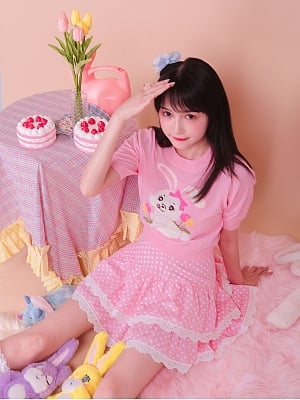 Cute Pink Polka Dot Double Layer Skirt by Milk Tooth Studio