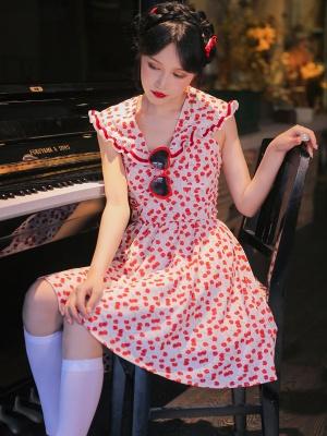 Cherry Lolita Ruffled Lapel Collar Backless Print Dress by Milk Tooth Studio