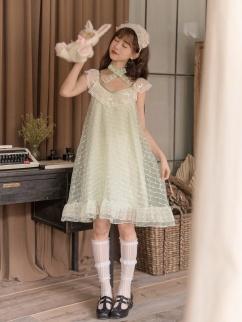 Bellflower Ruffled Collar Sleeveless Organza Doll Dress by Milk Tooth Studio