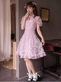 Pink Butterfly Short Puff Sleeves Heart-shaped Hollow Qi Dress / Cami Dress Sets by Milk Tooth Studio