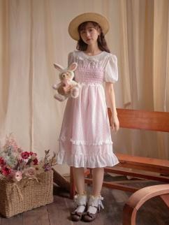 Misty Rose Peter Pan Collar Short Lantern Sleeves Dress by Milk Tooth Studio