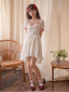 Square Neckline Short Puff Sleeves Floral Print Dress by Milk Tooth Studio