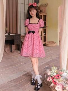 Blackberry Cake Square Neckline Short Puff Sleeves Dress by Milk Tooth Studio
