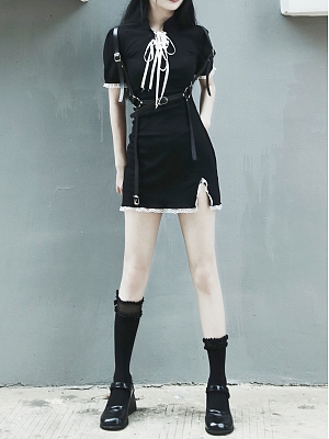 Gothic Stand Collar Short Sleeves Side Slit Mini Dress by Miub Design Studio