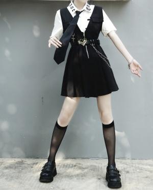 JK Pleated Skirt Overall Dress with Waist Belt by Miub Design Studio
