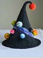 Handmade Wool Felt Colorful Planet Decorated Witch Hat