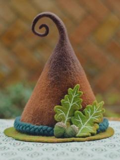 Handmade Pine Cone Wizard Wool Felt Brown Witch Hat