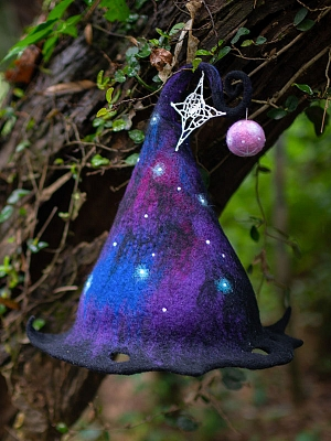 Handmade Magic Universe Wool Felt Witch Hat