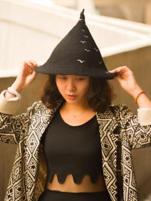 Handmade Seagull Wool Felt Witch Hat